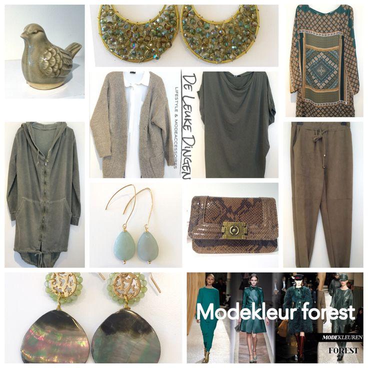 Mode kleur 'forest'!  Deze najaars kleur laat zich makkelijk combineren! www.deleukedingen.nl #forest #mode #kleur #vest #sweater #oorbellen #broek #tuniek #vogel #bag