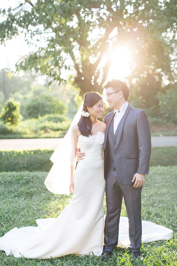 Wedding dress with beautiful train | Home Is Where the Heart Is: John and Rui Ying's Singapore Engagement Session