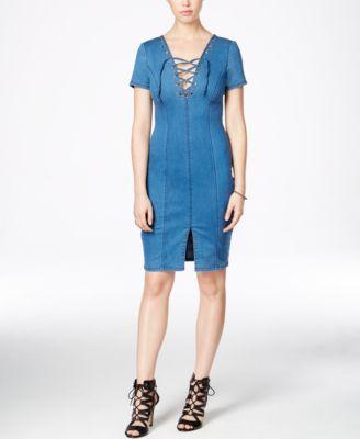 GUESS Shalay Lace-Up Denim Bodycon Dress | macys.com