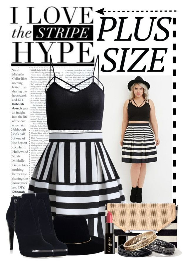 Stripes by shakeyd23 on Polyvore featuring Forever 21, Chicwish, Hervé Léger, Stella & Dot, Zimmermann, Gorgeous Cosmetics, stripes and plussizefashion