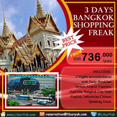 "Mau jalan-jalan sekalian shopping di #Bangkok ?kini tersedia paket 3 hari Bangkok #Shopping Freak.Yuk booking paketnya sekarang juga!   Dapatkan Spesial Paket tersebut dari LiburYuk http://liburyuk.com/promotional-package/book/229213142/3D2N--BANGKOK-SHOPPING-FREAK atau kontak team reservasi kami di reservation@Abbey.Travel  Silakan ""SHARE"" dan ""LIKE"" Page #LiburYuk untuk mendapatkan berbagai penawaran menarik lainnya....!! #jalan2 #holiday #AbbeyTravel"