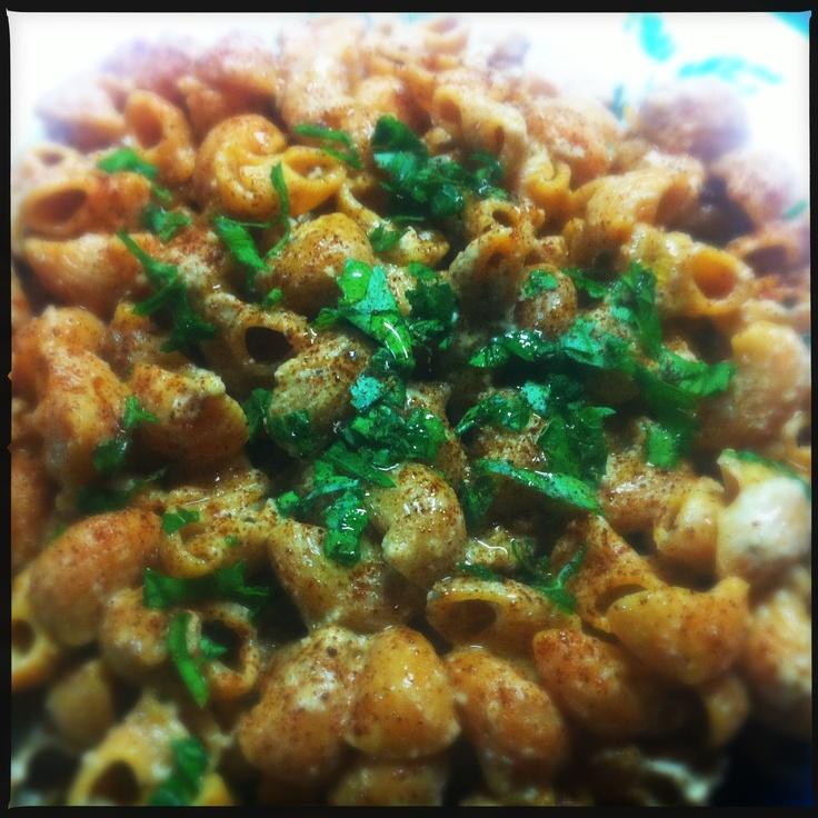 "Tserkezi pasta, ""pesto"" with walnuts, chicken, paprika and fresh parsley drizzled with olive oil  http://soumada.tumblr.com/post/36130331890/suzanna  #chicken, #veggie pipette barilla, #walnuts"
