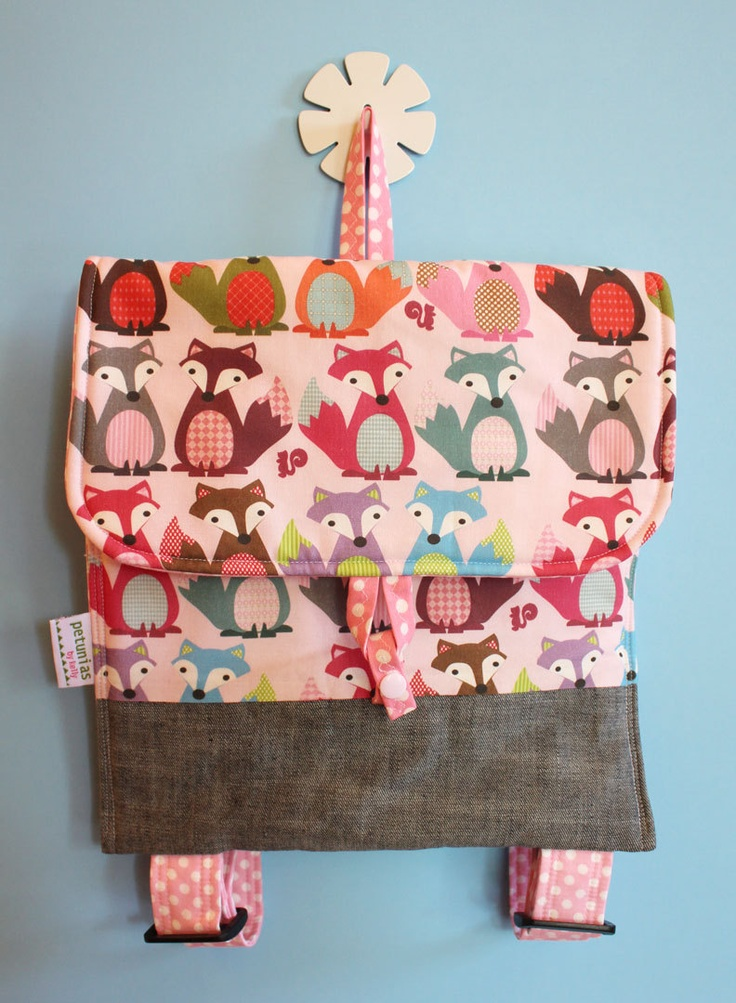 Fox Kids backpack by PETUNIAS - toddler preschool bag napsack bookbag daycare tote personalized exclusive fabric fun useful child gift