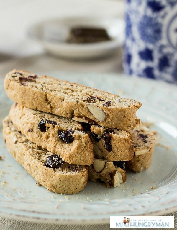 Almond Blueberry Biscotti - healthy, low-cal snack.  Perfectly dunkable.