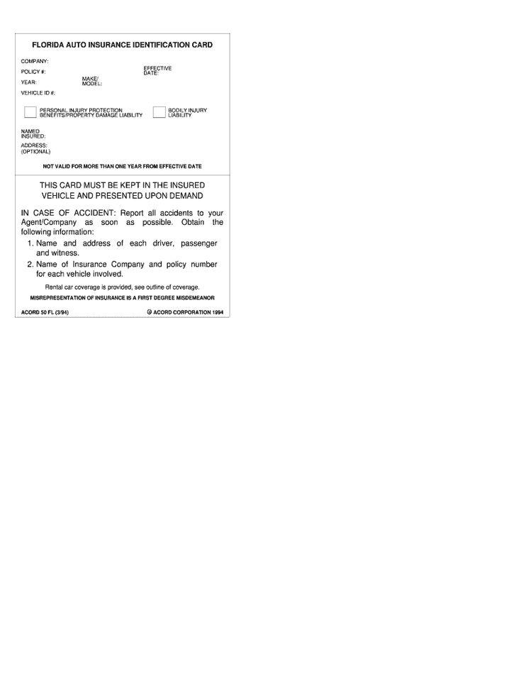 Florida automobile insurance identification card fill