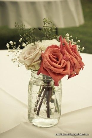 Mason Jar Centerpiece with Roses and Babys Breath - Petite Fleur by The French Bouquet - Ruth Reese Photographer