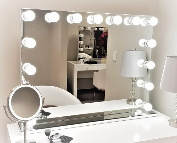 Xxl Dimmable Hollywod Forever Lighted Vanity Mirror Free Led Bulbs W Sliding Dimmer Dual Outlet Lighted Vanity Mirror Vanity Mirror Frameless Vanity Mirrors