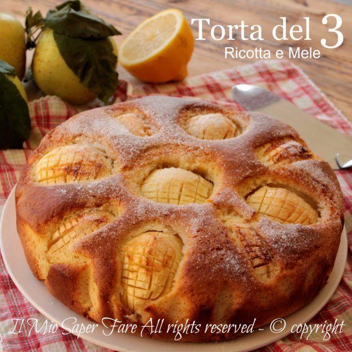 Torta del 3 ricotta e mele soffice e golosa,conosciuta anche con il nome di torta smemorina. E' 3 di tutto ed è facile da ricordare! Dolce alle mele facile