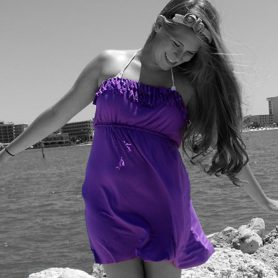 Purple Beach Dress with fringe and Braided Belt by CountryMermaids