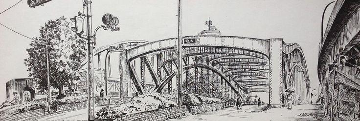 Artist - Itsuo Kiritani   Title - Senjuohashi Bridge (千住大橋)   Dimensions - (17.5cm x 50cm)Year - 2005  Media - Pen and Ink on Paper   Exhibition - ANA InterContinental Tokyo  Nov. 9, 2015 - Feb. 9, 2016     Reserved - Private Collection Tokyo