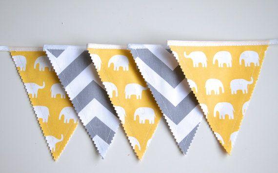 Elefant Banner, Elefant Dekoration, Chevron Garland, Bunting Banner, Stoff Flags, Kinderzimmer Dekoration, Geburtstag Dekoration, Baby-Dusche