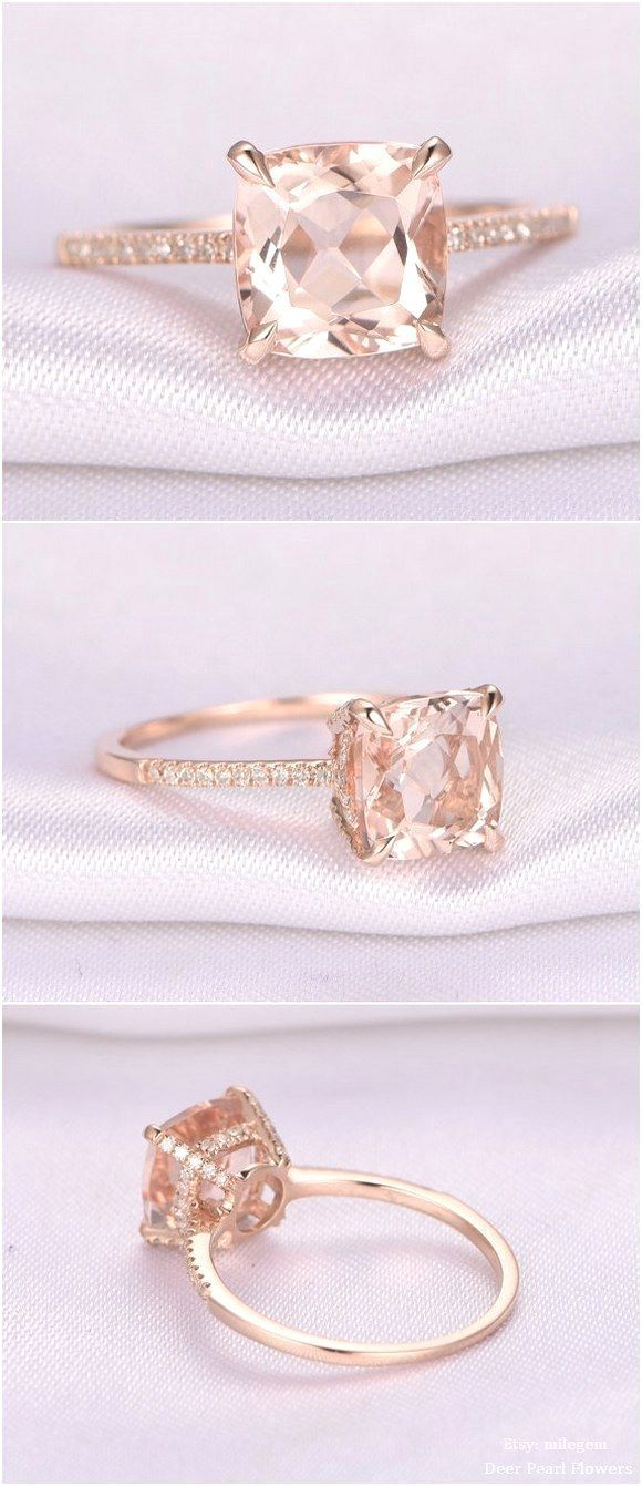 8mm Cushion cut Pink Morganite Engagement Ring / http://www.deerpearlflowers.com/rose-gold-engagement-rings-from-milegem/2/ #silverweddingring
