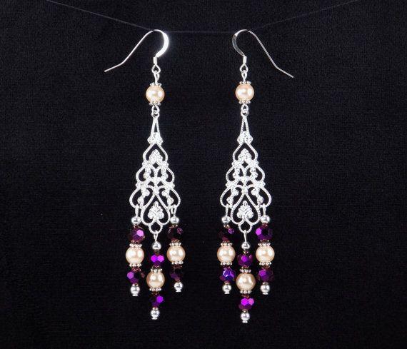 Purple Tan Chandelier Earrings Long Earrings Boho by Shawnawerks