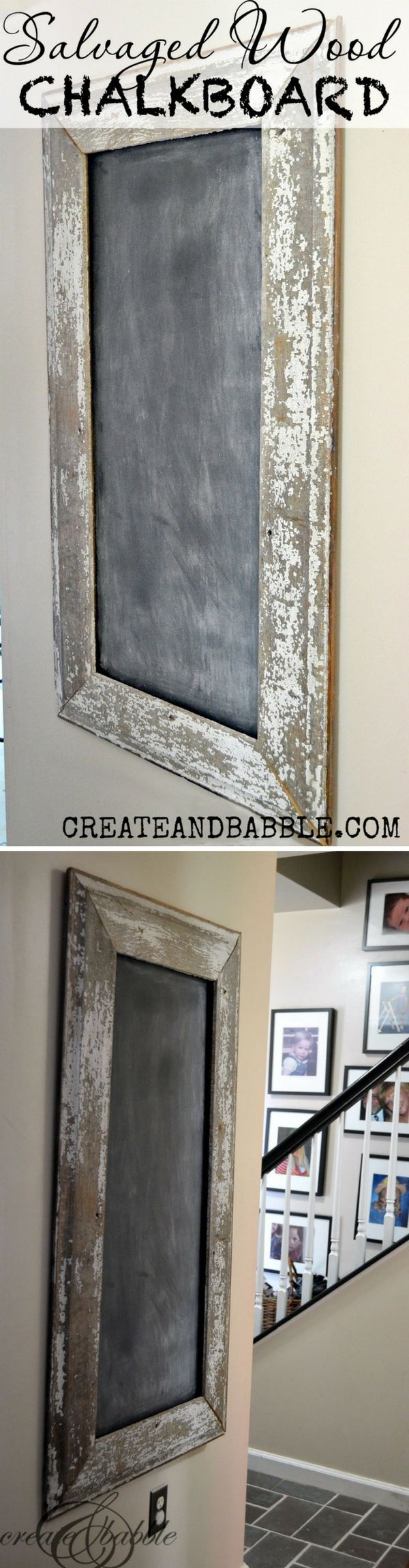 Check out this easy idea on how to make a #DIY salvaged #wood chalkboard #homedecor for #renters #project @istandarddesign