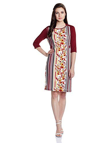 109F-Womens-A-Line-Dress-EA15FLAM03Y-MaroonXX-Large