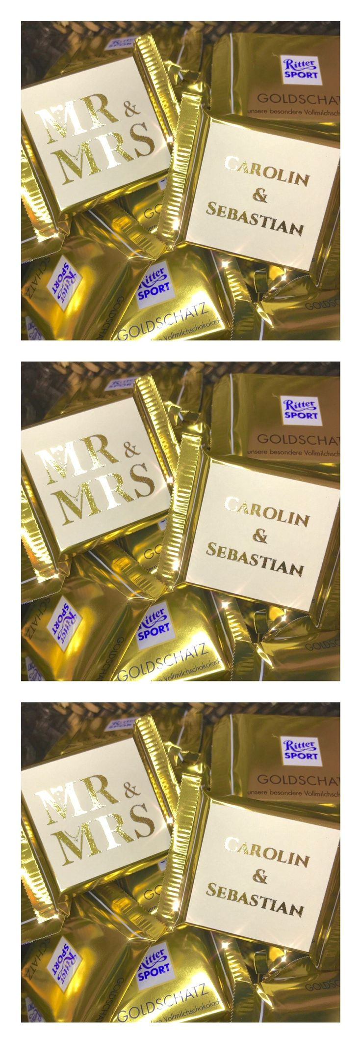 Chocolate panels as gold refining – gold font – square