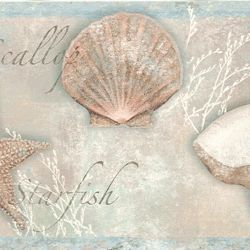-Seashells Wallpaper Border  -7.75 inches wide by 15 feet long  -Sale Price $15.96