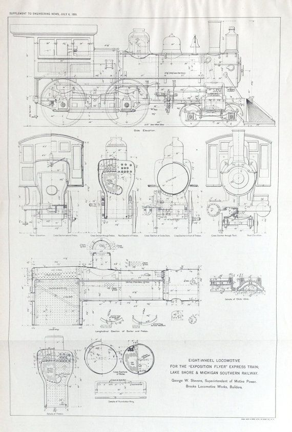 1893 Poster-sized Antique Engineering Drawing of by bananastrudel