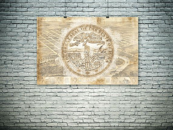 Iowa art Iowa State sealIowa wall decor old map patriotic