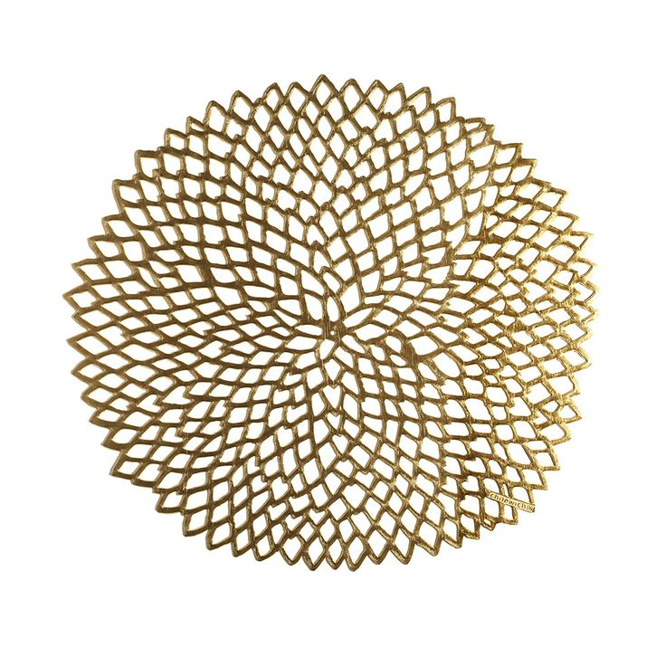 Discover+the+Chilewich+Pressed+Vinyl+Dahlia+Round+Placemat+-+Brass+at+Amara