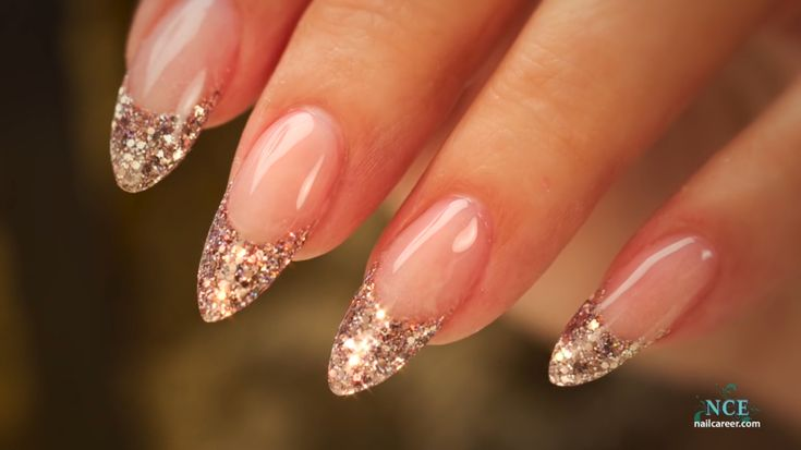 glitter french almond tip nails
