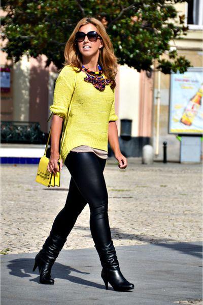 yellow H&M sweater - black Mustang boots - black Topshop leggings