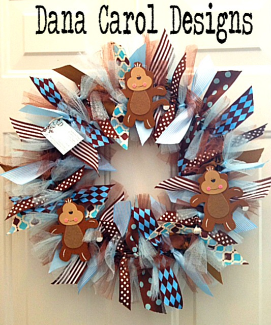 Baby Boy Monkey Wreath - For baby showers or hospital doors to announce the birth of a baby boy.