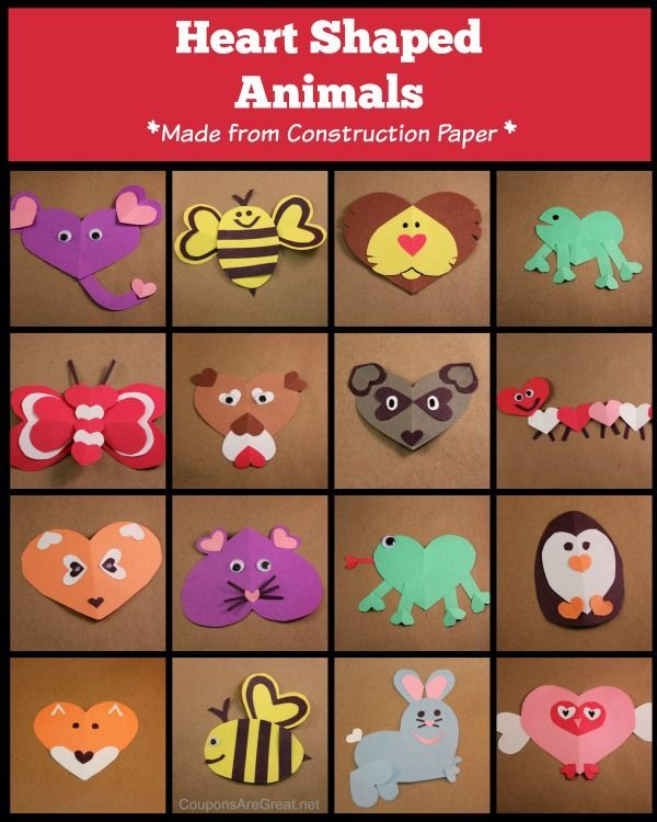 Heart Shaped Animals - these animals are great construction paper crafts to do with kids of all ages! They make perfect additions to your Valentine's.