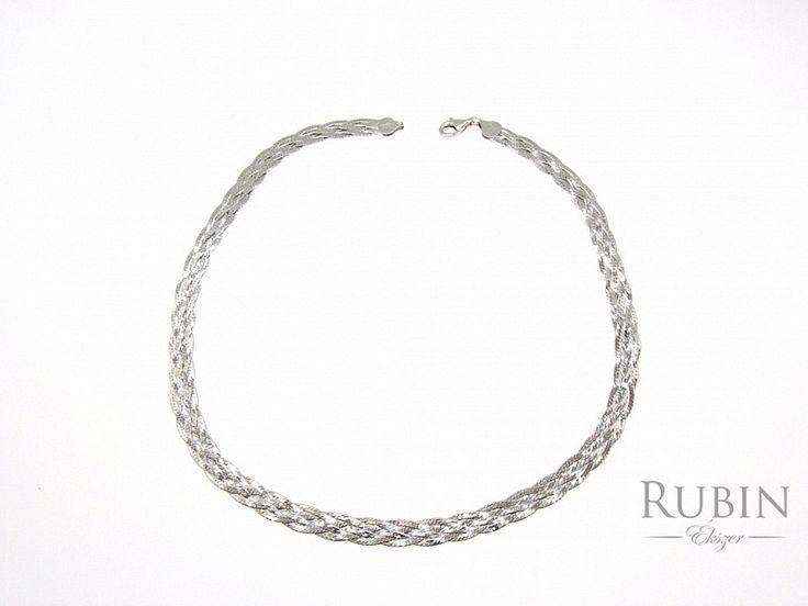 Fonott ezüst lap nyaklánc