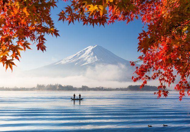 Photo du lac Kawaguchiko au Japon et vue sur le mont Fuji