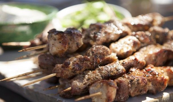 Pork Souvlaki with Cucumber Salad and Tzatziki : Food : The Home Channel  http://www.thehomechannel.co.za/pork-souvlaki-with-cucumber-salad-and-tzatziki/