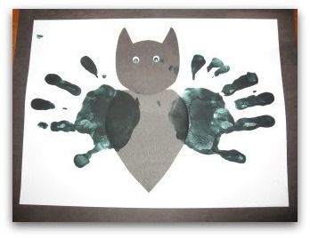 Bat handprint art, Halloween books and other Halloween crafts