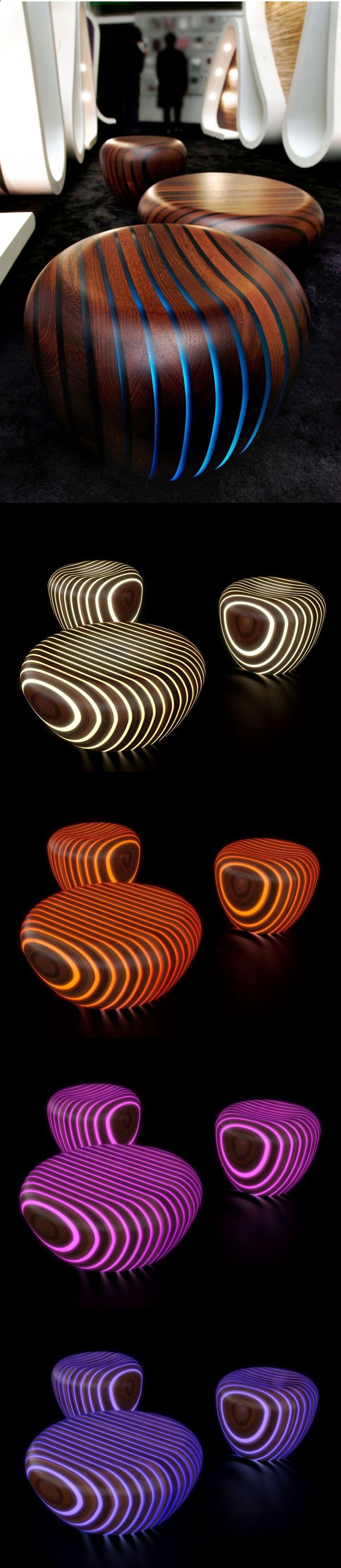 Bright Woods Collection by Giancarlo Zema for Avanzini Group... love this pairing of wood and translucency, we have done some wall features with wood/resin/light. these furniture objects play up the curves well.