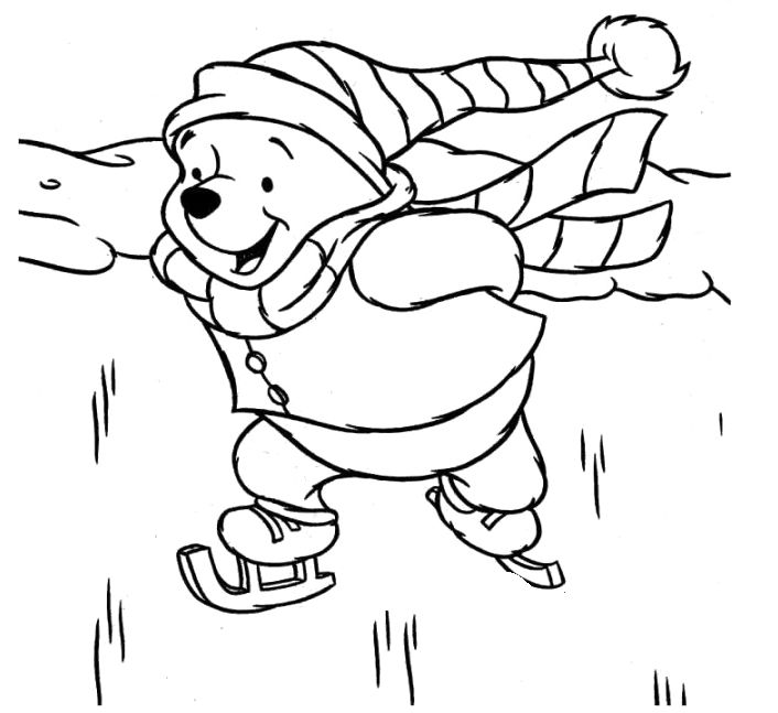 winnie the pooh playing ice skating images coloring