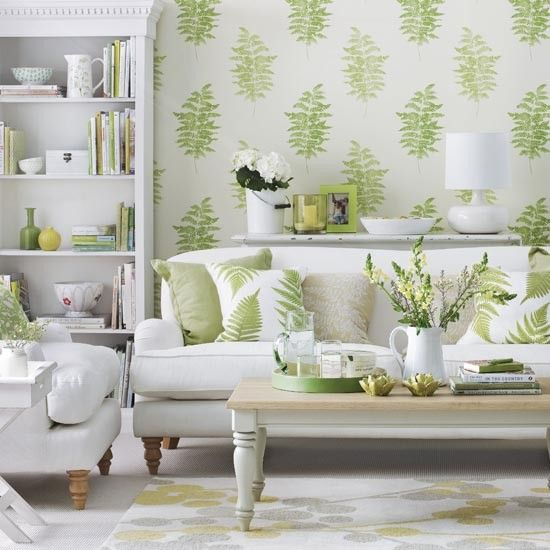 Living Room With Neutral Carpet, Wood Coffee Table And Botanical Print Living  Room Wallpaper Part 84