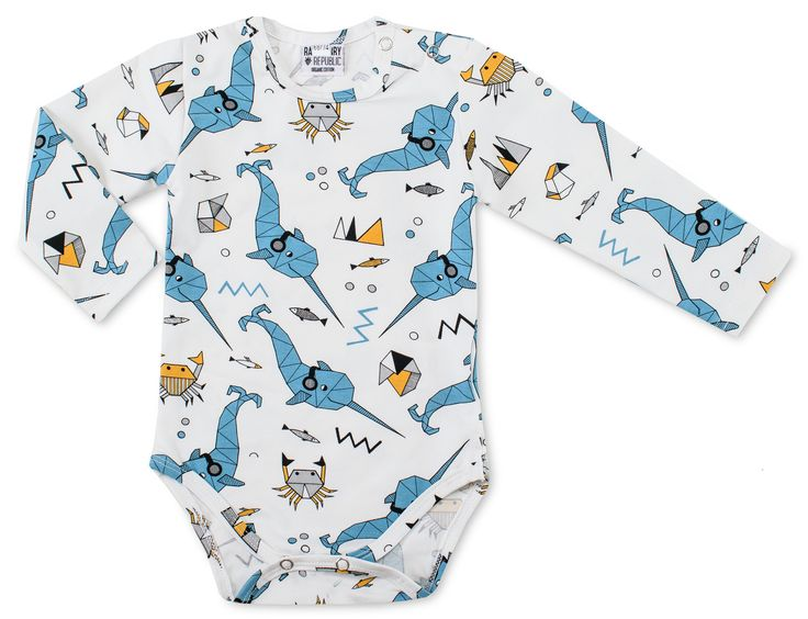 Everyone loves Narwhals, right? The unicorn of the sea with a side dose of some crabs rock this onesie. From Raspberry Republic offered by Modern Rascals.