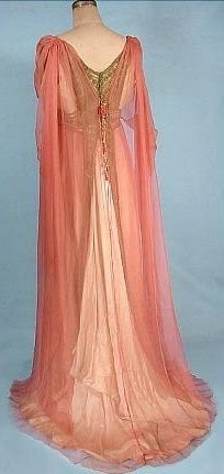 A costume for the holiday masquerade.  c. 1912 Jeane Hallee, Paris Pink Gossamer Silk Chiffon Gown