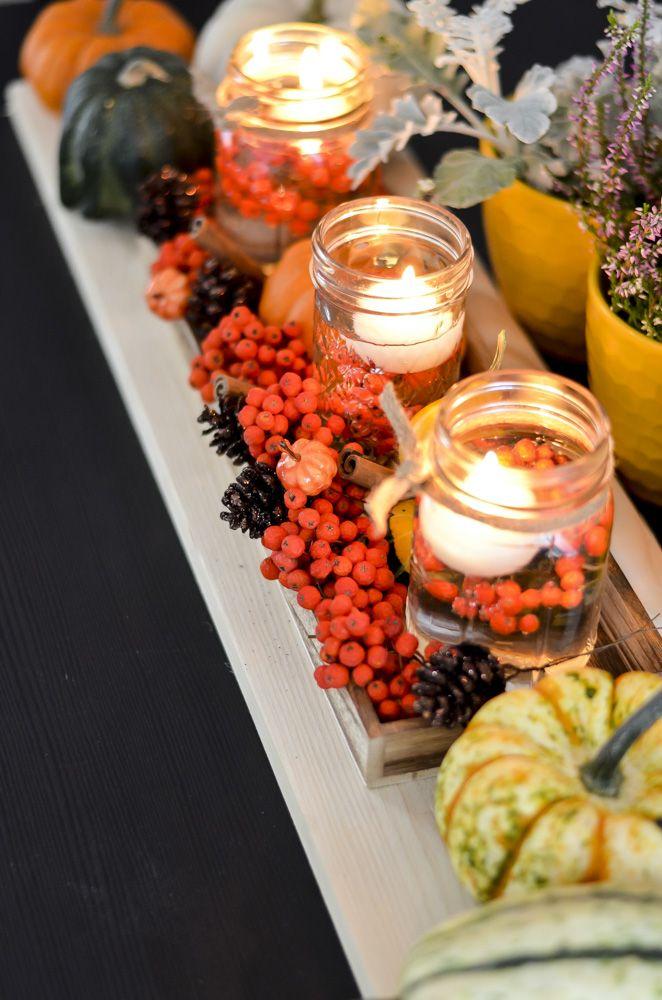 Vyrobte si DIY podzimní dekoraci. Svícen vyrobte z ball mason jar sklenice a…