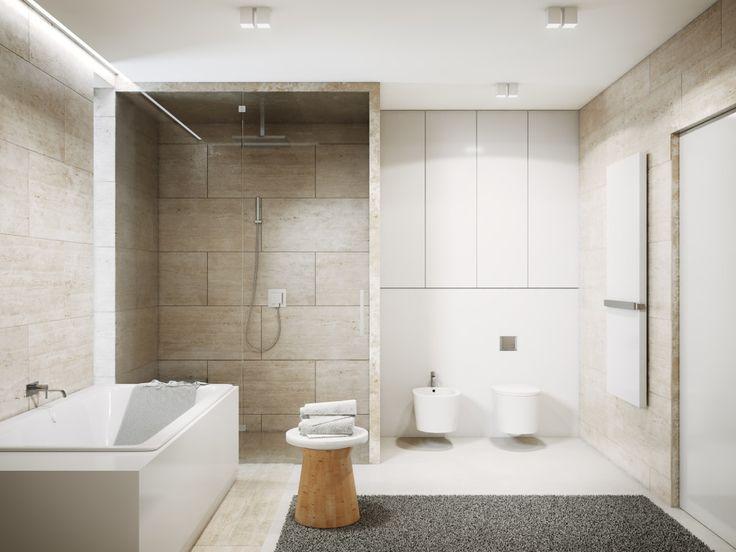 Trawertyn w łazience bardzo dobrze komponuje się z naturalnym drewnem oraz białą ścianą