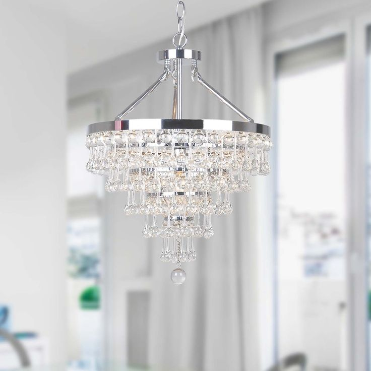 Claudia Chrome 5-light Chandelier with Crystal Glass Drop - Free Shipping Today - Overstock.com - 16613862 - Mobile
