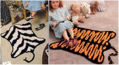 Оригинальные коврики для детской комнаты, связанные крючком в виде шкур тигра и зебры, схема вязания, мастер-класс, зебра, тигр, вяжем для детей
