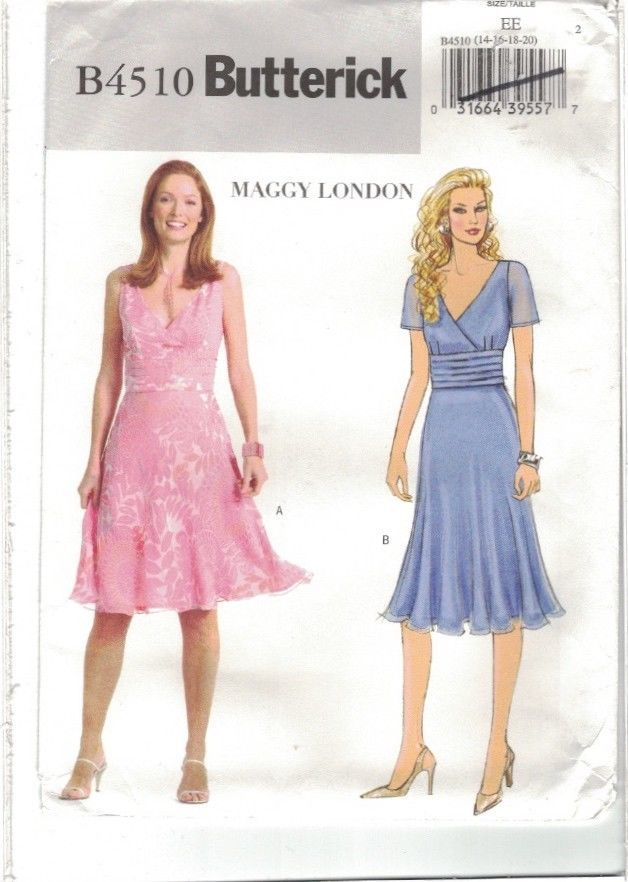 Butterick 4510 Maggy London Cocktail Sun Dress Pattern Size 14 16 18 20 Uncut #Butterick #MaggyLondondress