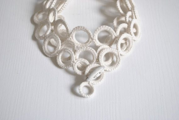 White scarf crochet luxury  accessories / by AliquidTextileJewels, €59.00