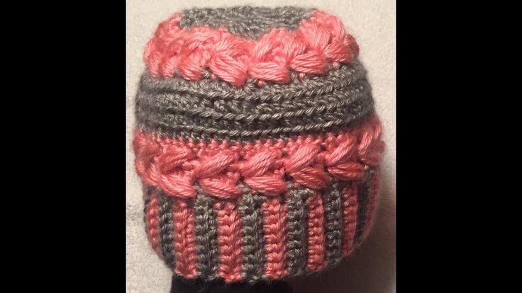Gorro para ninas en punto Puff // Hat for girls