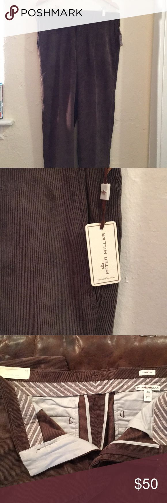 Peter Millar Mens Pants NEW W TAGS! Peter Millar Mens Corduroy Pants  Color: Chocolate Size: Waist 34 / Length 32  Awesome lightweight pant for the winter!  These pants will go great w a light colored button down or even a with t shirt! Great set of paints that are brand new and never worn! Peter Millar Pants Corduroy