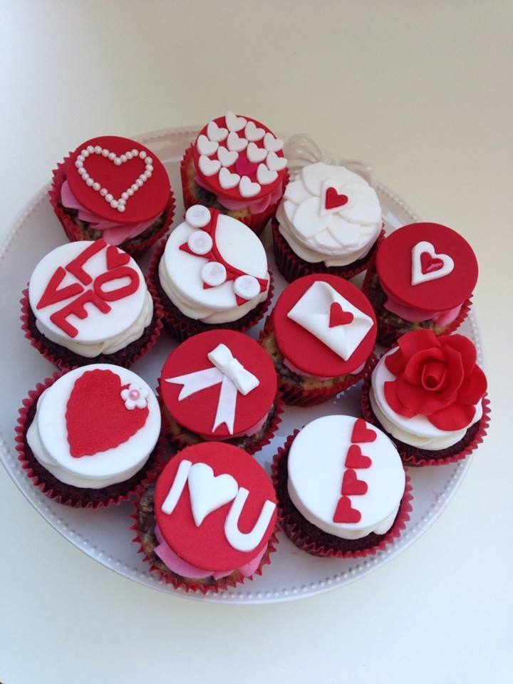 Valentine's Day cupcakes - *red velvet and chocolate cheesecake cupcakes with Valentine's Day toppers