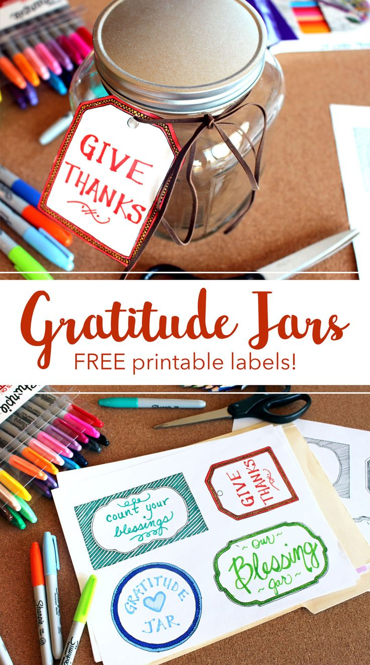 make a Gratitude Jar for Thanksgiving with these free printable labels...great for the kids...