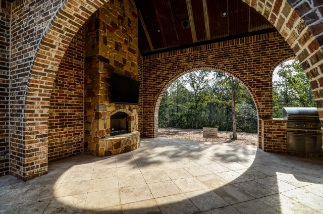 Covered patio with firepit and old barn tin ceiling for Old barn tin ideas