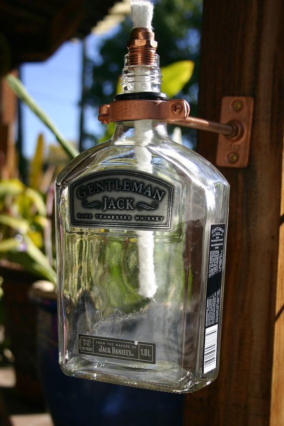Gentleman Jack Rare Tennessee Whiskey Tiki Torch / Oil Lamp including bottle and Hardware.