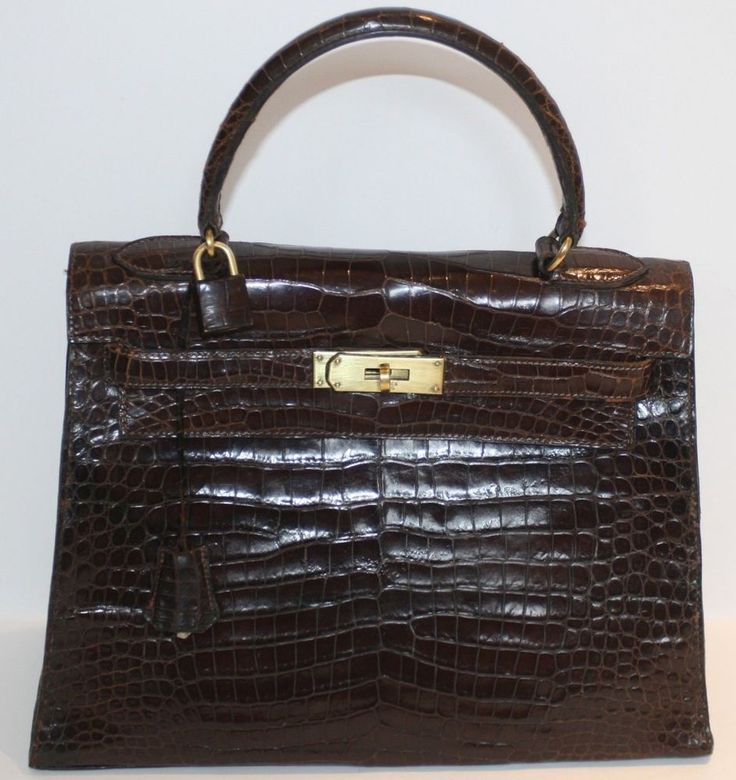 THE DUCHESS' GORGEOUS VINTAGE HERMES DARK BROWN CROCODILE ALLIGATOR KELLY BAG #HERMES #KELLY